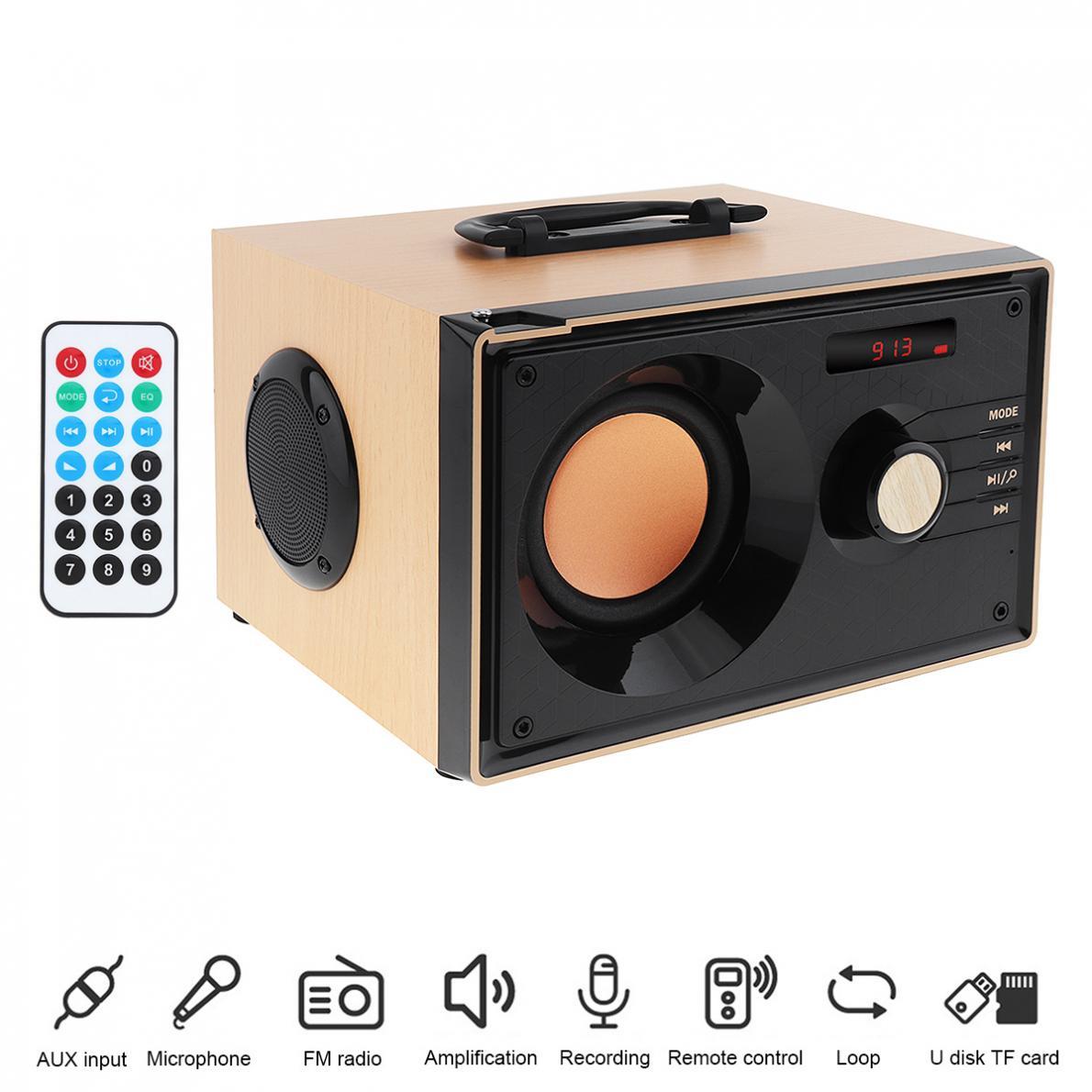 Home Theater inalámbrico de madera estéreo envolvente Bass Gun Bluetooth altavoz soporte TF tarjeta U disco FM Entrada auxiliar para teléfonos inteligentes PC