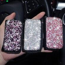 Étui à clés en cuir pour femmes   Sac de rangement universel pour Benz BMW Audi Volkswagen, cristal scintillant pour clé de voiture