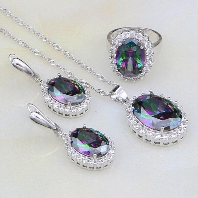 952 jóias de prata mystic rainbow pedras conjuntos de jóias de zircônia branca para mulheres brincos de festa/pingente/colar/anel