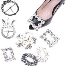 Mode élégant Rectangle cristal strass boucle/lacet Invitation ruban curseur cartes de mariage Clips chaussures breloques accessoires