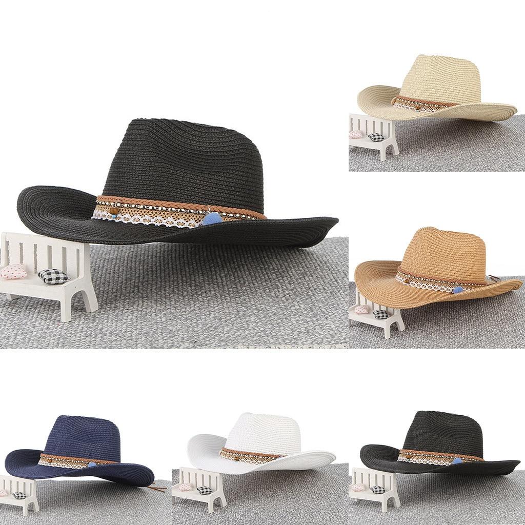 Straw Hat For Women Summer 2019 Retro Casual Men Women Western Cowboy Riding Hat Wide Brim Hats Chapeau Femme Ete