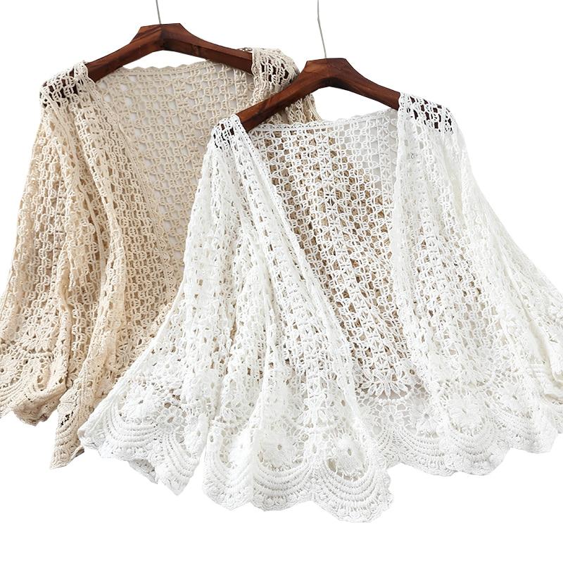 Rebeca tipo Kimono para mujer, blusa de ganchillo, cárdigan de verano, camisa blanca bordada de manga larga, ropa calada, ropa de playa, abrigo, Túnica