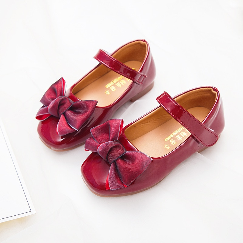 Spring Autumn bowknot Girls Princess Shoes For Kids Black Leather Shoes For Student Shoes Girls Black Pink Red 3 4 5 6 7 8-15T