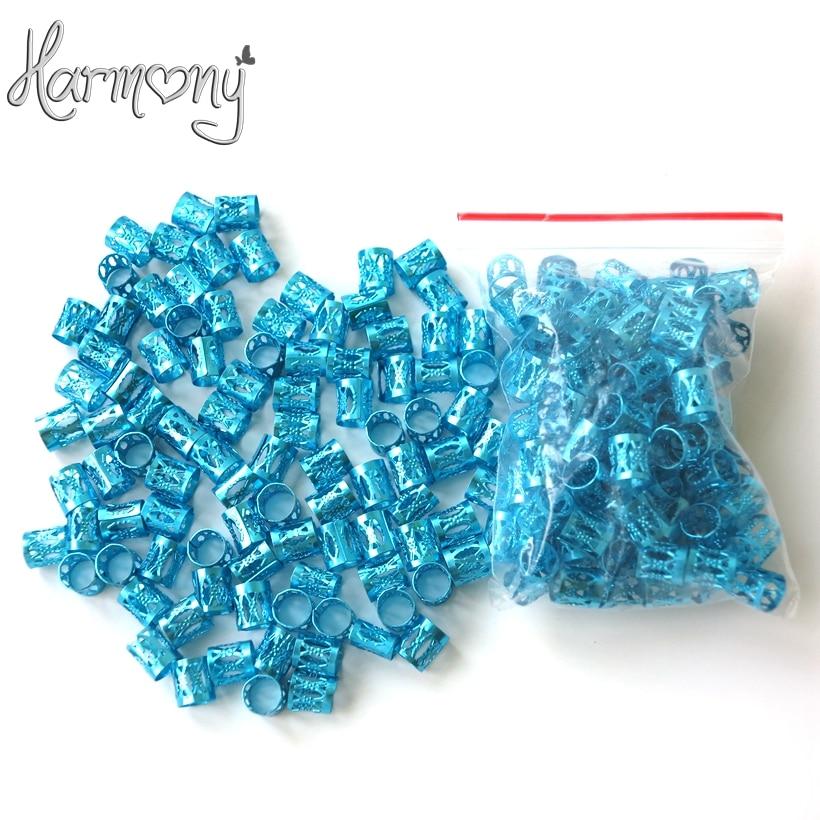 Free shipping 100pcs Blue metal tube ring dreadlock beads for braids hair beads for dreadlocks adjustable hair braid cuff clips enlarge