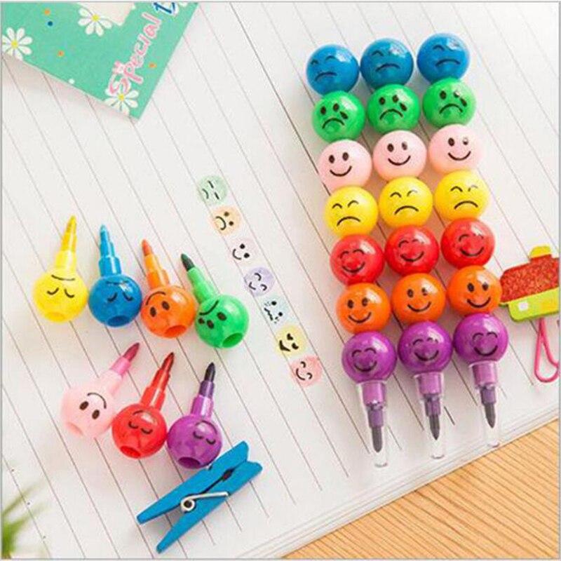 7 цветов карандаши креативные с сахарным покрытием Haws мультфильм смайлик граффити ручка Канцтовары подарки для детский восковой карандаш 7 цветов