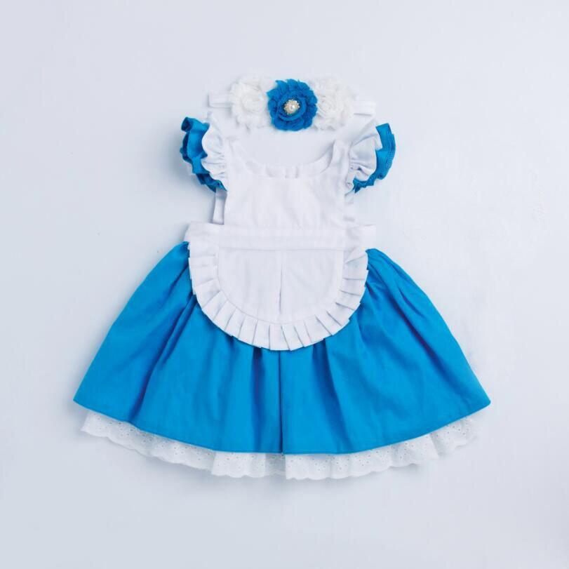 Verano de los niños cosplay Cenicienta vestidos para niñas azul blanco patchwork bebé vestido con flores diadema niños fiesta vestido de princesa