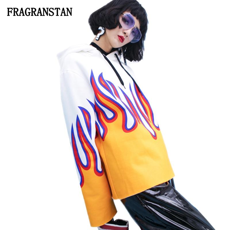 2019 sudaderas Harajuku moda Primavera otoño mujer letras estampado de llama personalidad Top alta calidad Casual pulóveres Q601