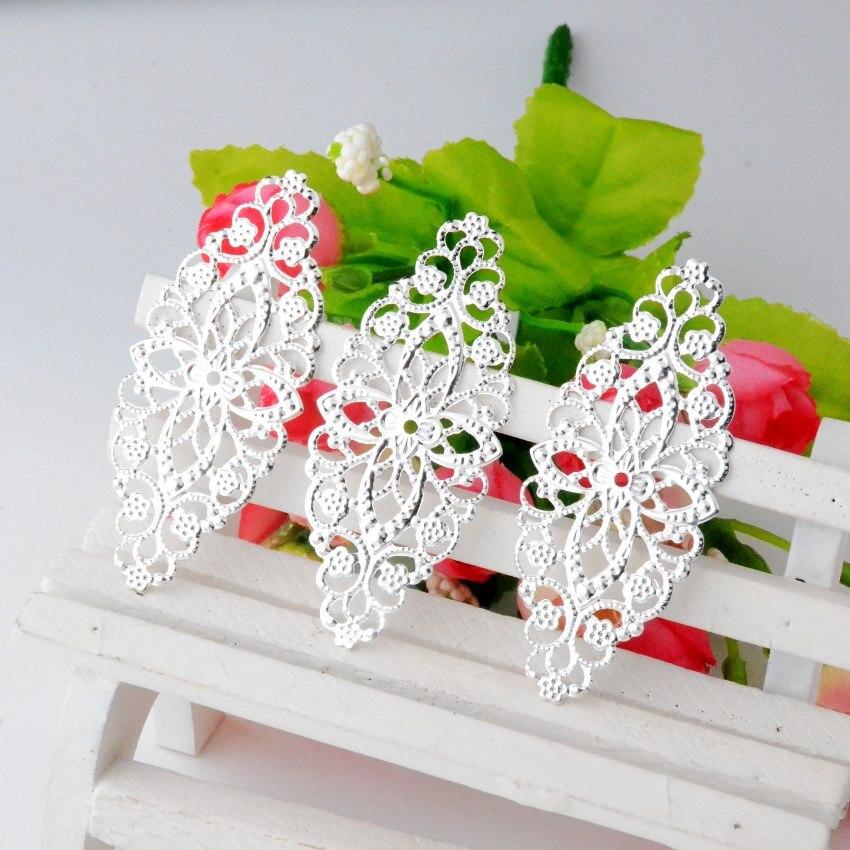 MIAOCHI 50 Banhado A Prata Filigrana Flor Wraps Conectores Filigrana de Metal Artesanato Decoração DIY Apreciação 6x2.6 cm J2928