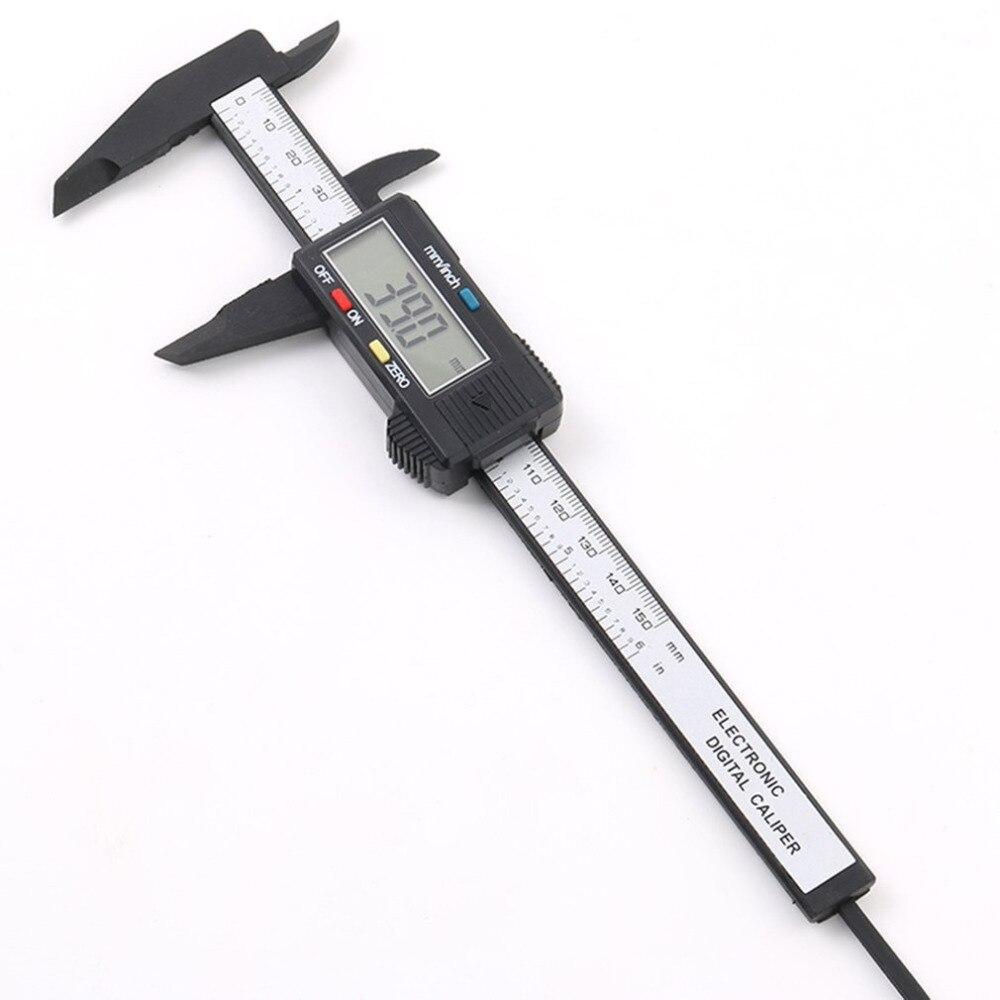 150mm 6inch LCD Digital Electronic Carbon Fiber Vernier Caliper Gauge Micrometer Measuring Tool Black