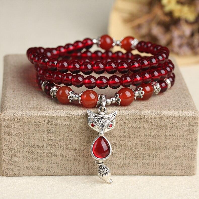Nueva moda 6mm rojo compuesto de cristal granate tibetano budista 108 collar de cuentas de oración calabaza mala pulsera de oración para la meditación