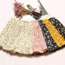 Summer Bohemian Beach Floral Chiffon Mini Skirt Women High Waist Summer Skirt Female Sexy Short Pleated Skirt Falda Mujer C5349