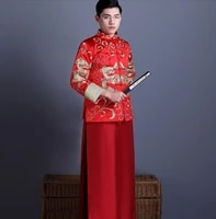 red tang suit jacket robe chinese style wedding groom matrimonial male double dragon formal robe jacket long gown traditional