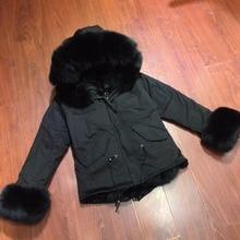 plus size winter natural raccoon parkas black raccoon fur lining MINI jacket coat with furs cuffs