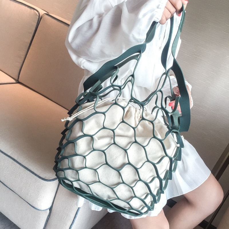 حقيبة قماشية مجوفة للنساء ، حقيبة يد قماشية ، عصرية ، يمكن إعادة استخدامها لحماية البيئة.