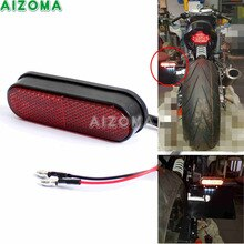 Motorcycle LED License Plate Light With Rear Red Reflector Universal For Honda Suzuki Yamaha Kawasaki Harley Chopper Bobber