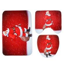 New Toilet Seat Cover Christmas Decorations For Home Santa Snowman Eco-Friendly Warehouse 3Pcs/Set Bathroom Toilet Mat