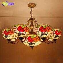 FUMAT fleur forme Lustre Style européen bref vitrail lumière rétro salon verre Art Lustre lustres éclairages