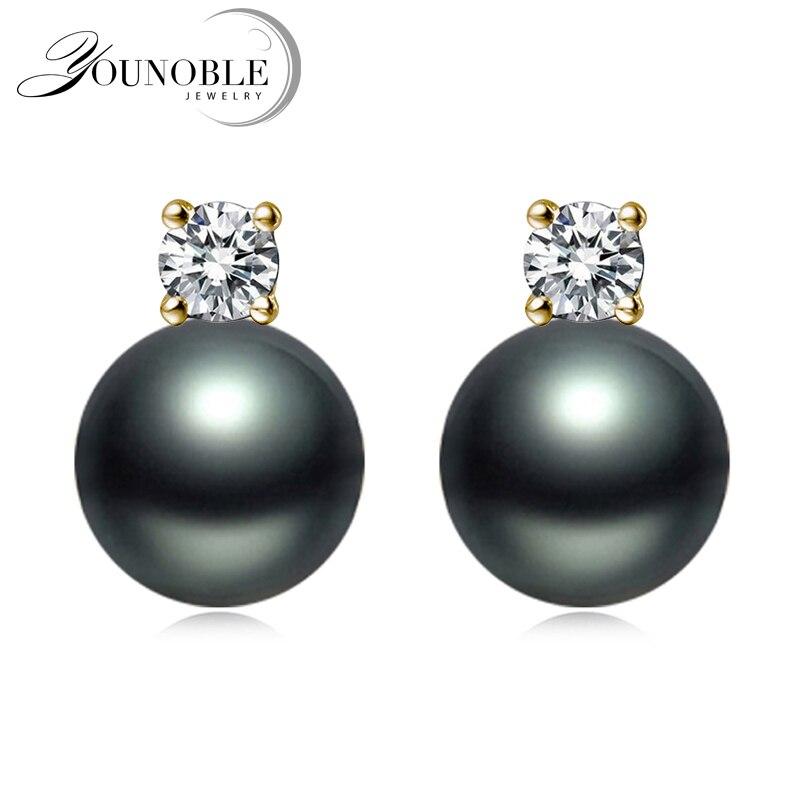 Pendientes 100% perlas de oro amarillo sólido 18k antialérgicos reales, pendientes de Perla Negra tahitiana, regalo de aniversario