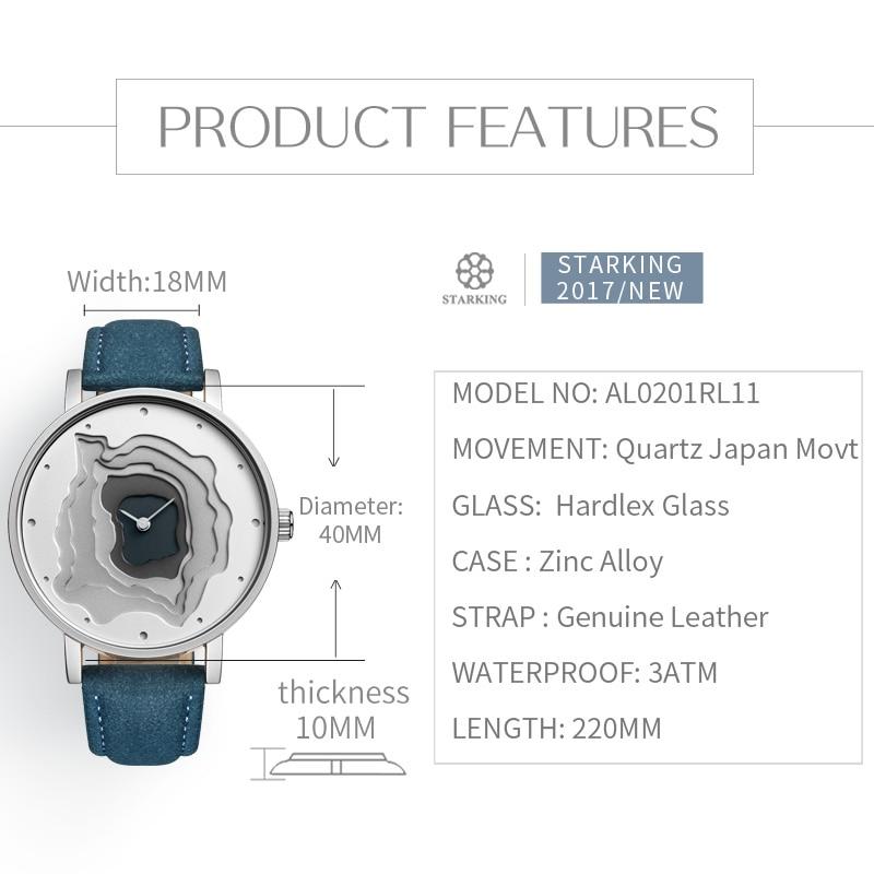 STARKING Brand Retro Vintage Type WristWatch Blue Leather High Quality Earth Conception Simplicity Watch Quartz Relogio Feminino enlarge