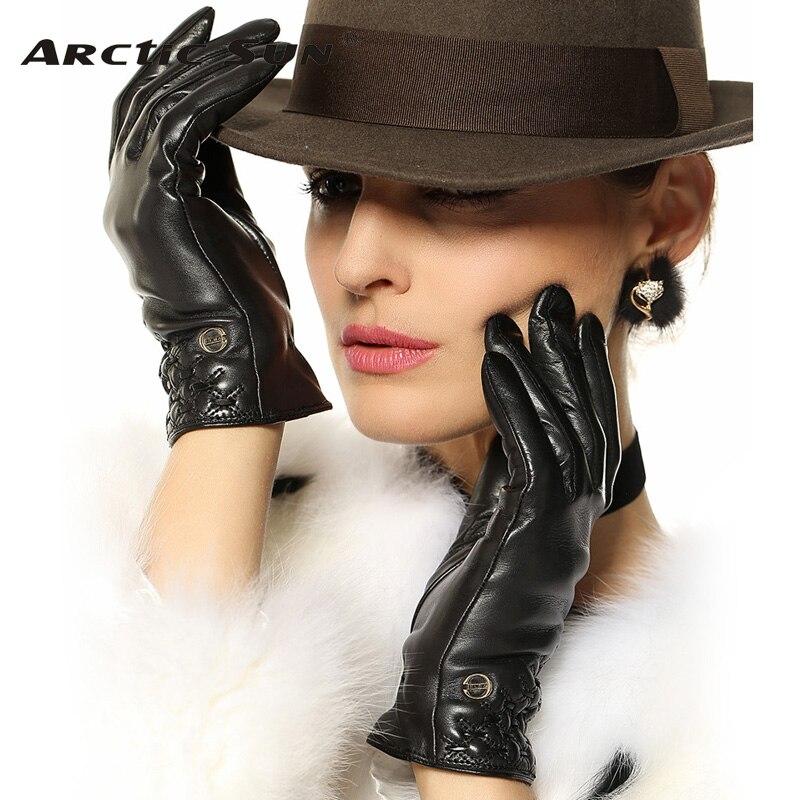 Распродажа, перчатки из натуральной кожи для женщин, высококачественные перчатки из козьей кожи на запястье, модные однотонные перчатки из ...