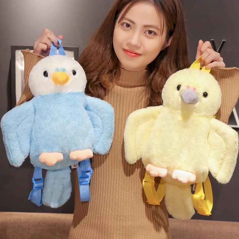 40Cm Blue/Yellow Cute Plush Parrot Toy Stuffed Animal Bird Backpack Kawaii Schoolbag Cartoon Bags Kids Christmas Gift For Girls