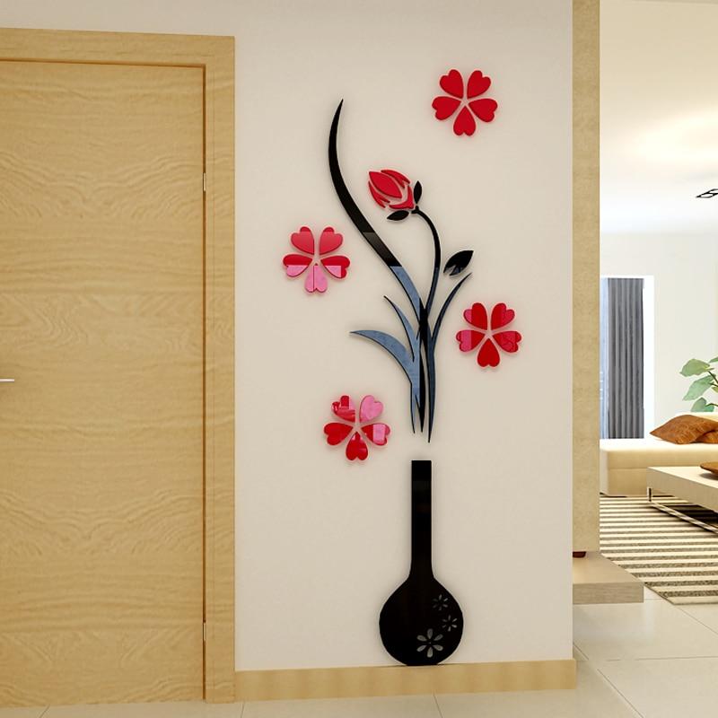 Fashion Plum vase 3D wall stickers Flower Entrance DIY Art wall decor Home decoration Free shipping