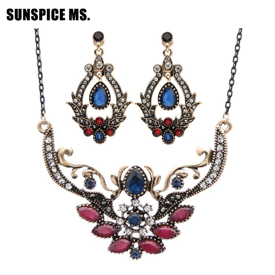 SUNSPICE MS. Винтажные турецкие каплевидные серьги из смолы ожерелье с тонкой цепочкой индийские ювелирные наборы Прямая поставка Свадебная бижутерия подарок