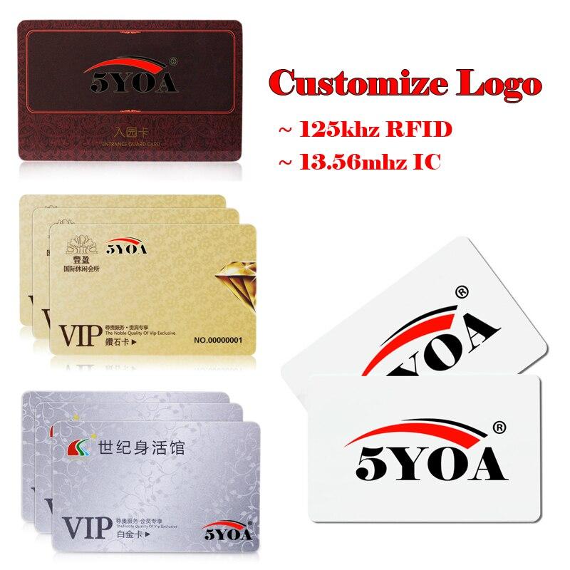 Индивидуальный дизайн логотипа, печать Φ VIP, печать, идентификатор RFID 125 кГц, EM4100 карта 13,56 МГц, IC карта MF S50, Бесконтактный смарт