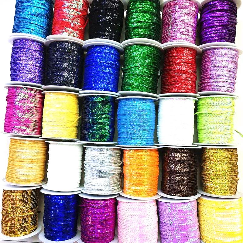 10 jardas 3mm lantejoulas guarnição scrapbooking costura para artesanato paillette fita floco corda splangle diy roupas