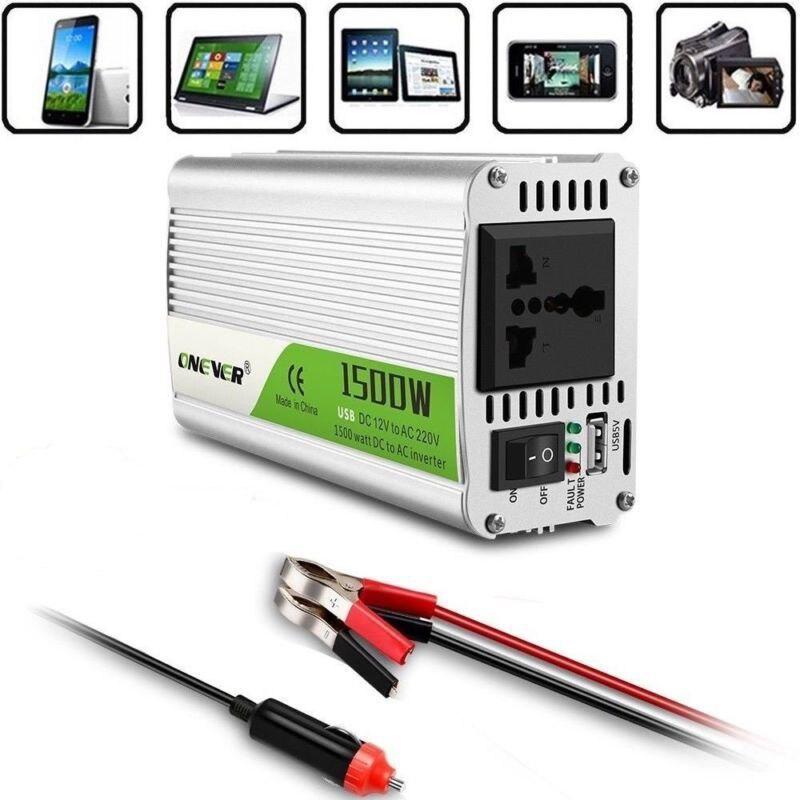 محول طاقة السيارة ، 1500 واط تيار مستمر 12 فولت إلى 220 فولت تيار متردد ، حماية الجهد الكامل مع شاحن منفذ USB ، إنذار الجرس