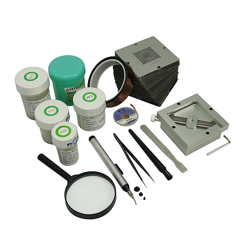 silver BGA reballing kit 184pcs 90mm BGA Stencil Universal BGA Reballing Station enlarge