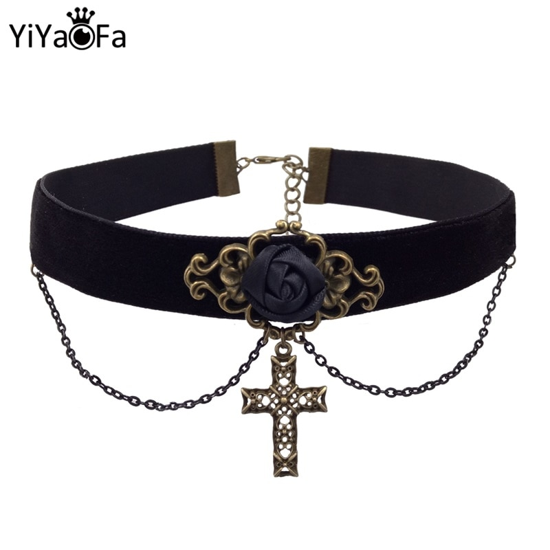 Ожерелье с крестом YiYaoFa, винтажное ожерелье-чокер с подвеской в виде Иисуса, Женские аксессуары, DD-18
