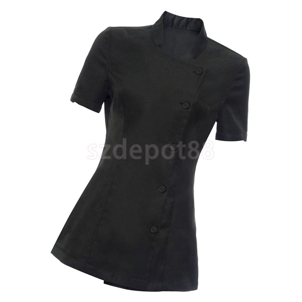 Set of 2 Pieces Women Ladies Salon Spa Beauty Beautician Hairdressers Nails Workwear Short Sleeve Black Uniforms S L