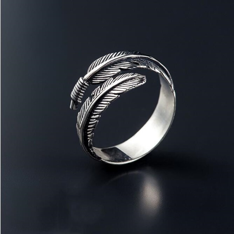Retro High-quality 925 Sterling Silver Jewelry Thai Silver Not Allergic Personality Feathers Arrow Opening Rings   SR239