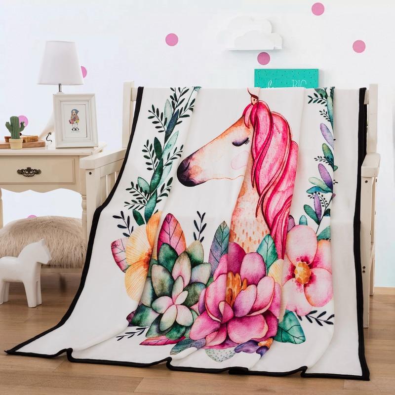 بطانية يونيكورن منقوشة ، مفرش سرير رقيق وعصري ، 150 × 200 سنتيمتر ، صوف