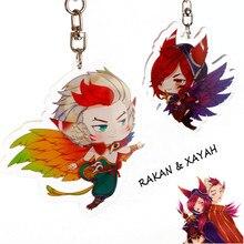 Ligue légendes XAYAH et RAKAN Couples porte-clés LOL bijoux pendentif à breloques porte-clés sacs voiture porte-clés llaveros