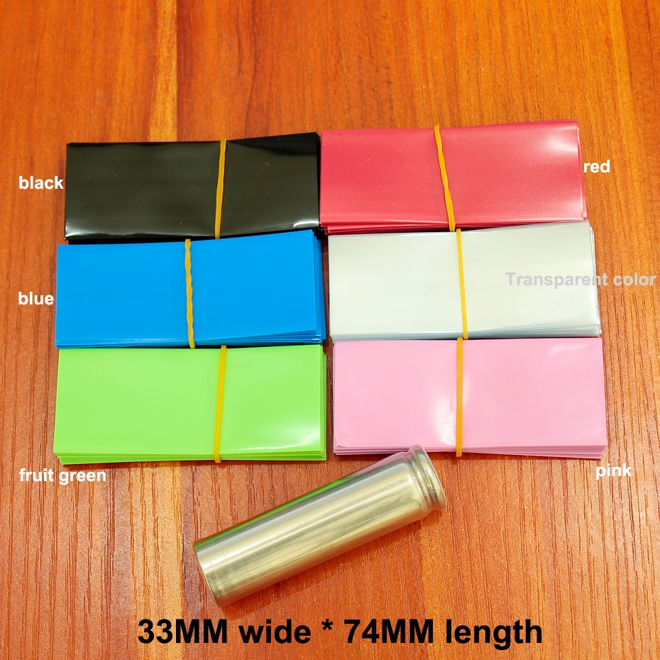 100pcs Lithium Battery Battery PVC Heat Shrink Tubing Heat Shrink Film 18650 Battery Skin Shrink Film Battery Sleeves 33MM Wide