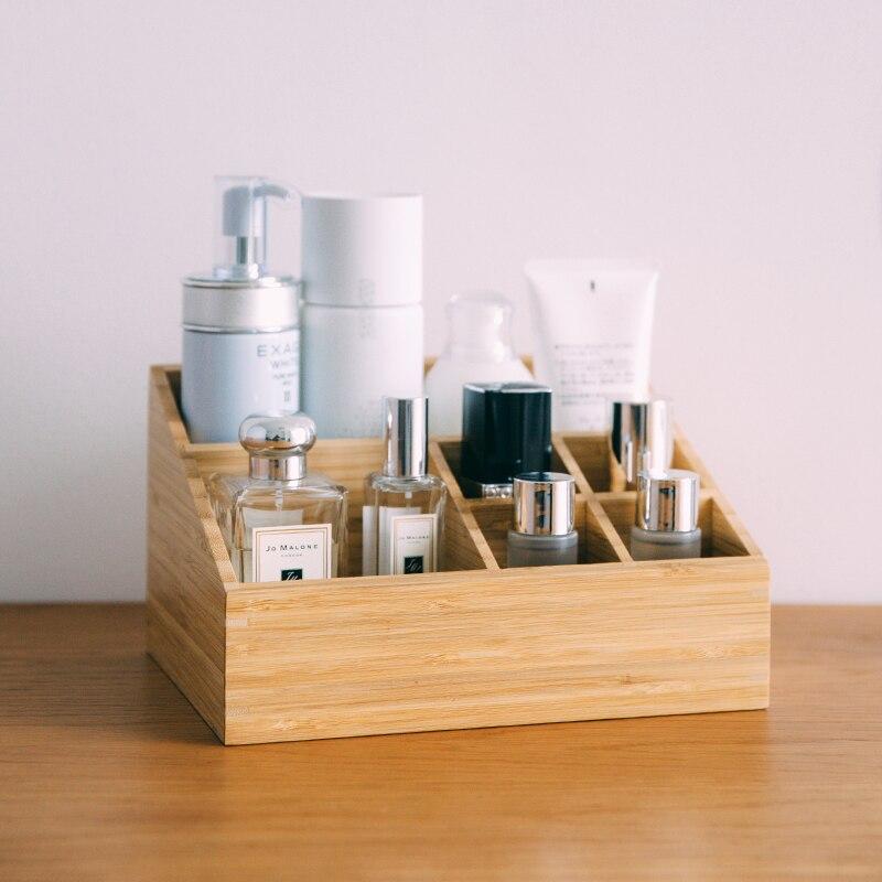 Boîte de rangement en bambou pour cosmétiques organisateur de bureau en bois naturel Eco 6 fentes multi-usage/articles divers/supports de rangement fixes