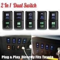 12V Car Auto Dual LED Light Bar On-Off Push Switch Work Fog Light Spot Light Button Switch For Toyota Prado Hilux Landcruiser