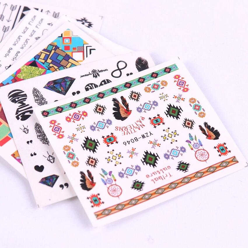 Diseños de 10 Uds. De conjuntos de adhesivos para uñas, pegatina de plumas negras Dreamcather, pegatina de plumas, deslizador de transferencia de agua para decoración de uñas