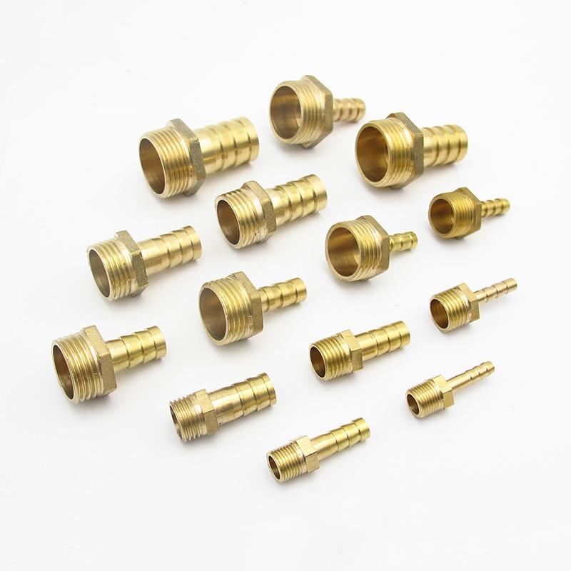 """4mm 6mm 8mm 10mm 12mm 14mm 16mm 19mm 20mm 25mm espiga para manguera x 1/8 """"1/4"""" 3/8 """"1/2"""" 3/4 """"1"""" hombre BSP, latón conector de instalación de tuberías"""