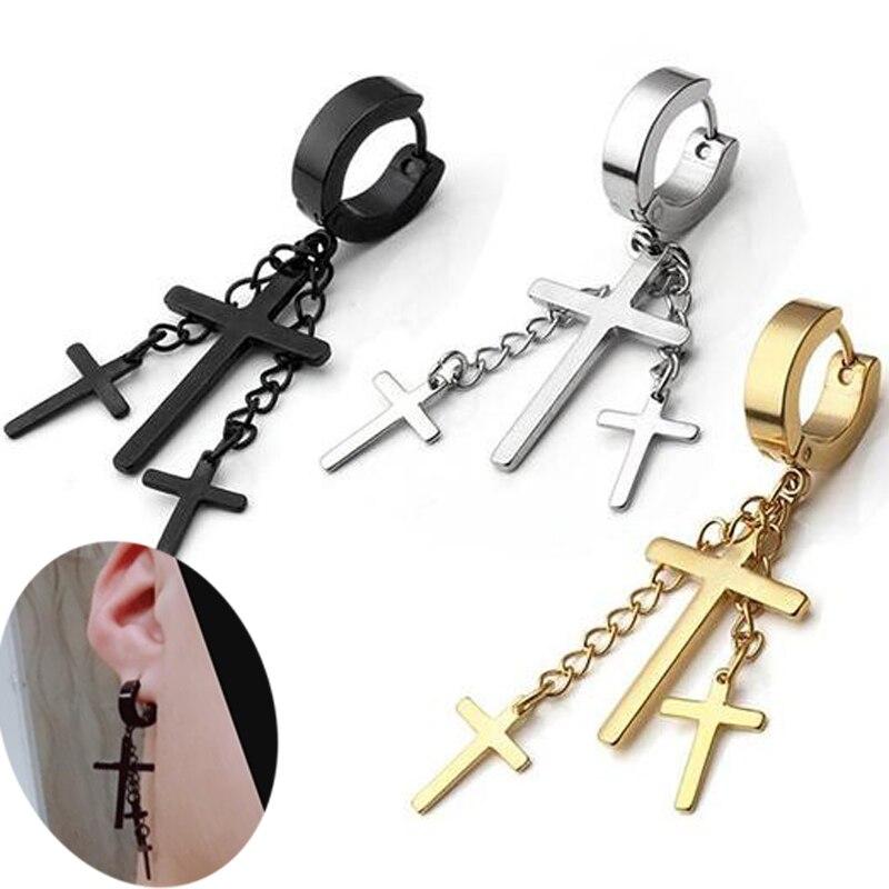 2 peças huggie brinco borlas cruz charme aço inoxidável cruzes brinco masculino menino menina brincos de rocha cosplay brinco