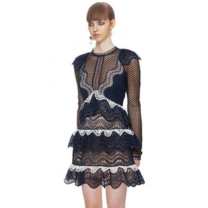 HANZANGL New arrival 2020 Autumn Dress Women Long Sleeve Sexy Hollow Lace Dress Embroidery Ruffled Mini Party Dresses S/M/L
