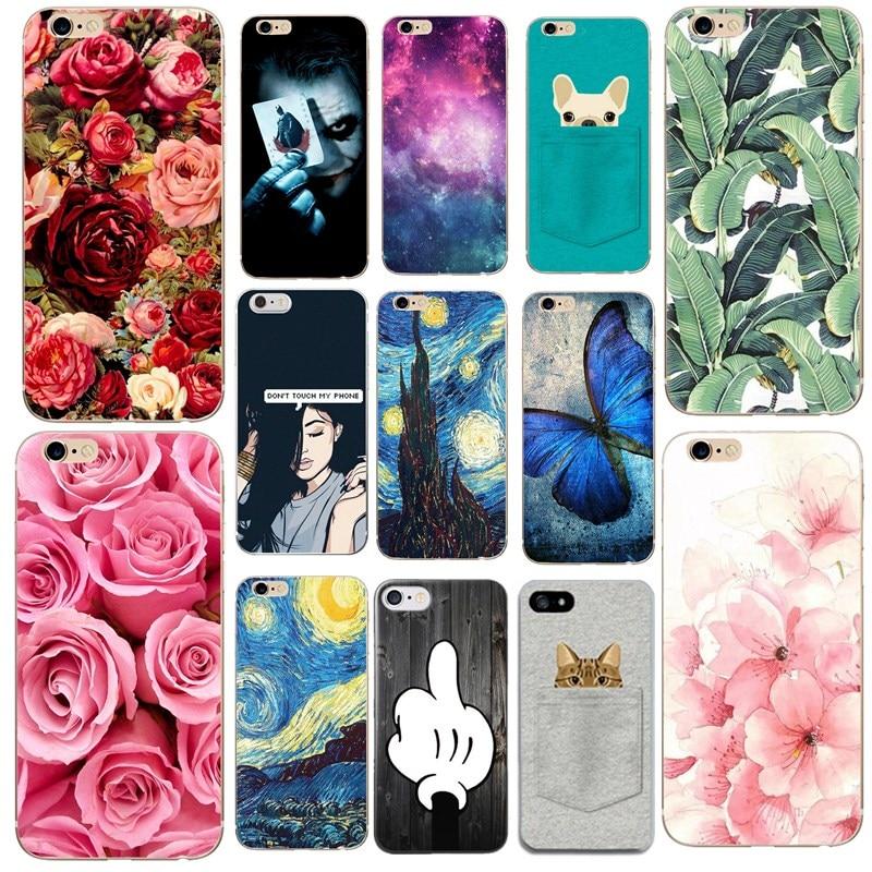 Para funda iphone x caso 5 5S 6 s 7 8 plus silicone ultra fino macio plantas rosas arte animais bonitos para capa iphone x 5se