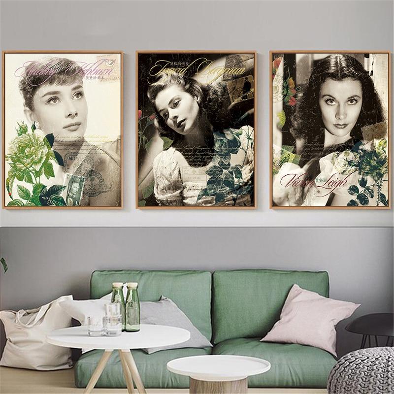 Ingrid Bergman Audrey Hepburn Marilyn Monroe Poster Cópia Da Lona de Arte Da Parede Do Vintage Retro Mulheres Flores Home Decor