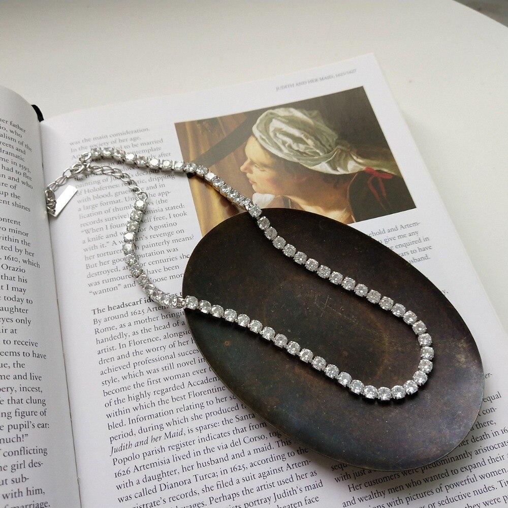 4mm auténtica Plata de Ley 925 Zirconia cuadrada AAA + pendiente de tenis de Hip Hop helado gargantilla corta collar de joyería de lujo x280