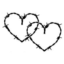 Autocollants cœurs en vinyle, fil barbelé, noir/argent 20.3, 13.5 cm x S3-4963