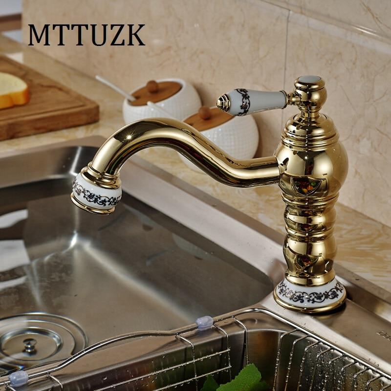 Vidric Blue and white porcelan Deck Mounted Long Neck Rotation Bathroom Sink Basin Faucet Antique Brass Single Handle mixer