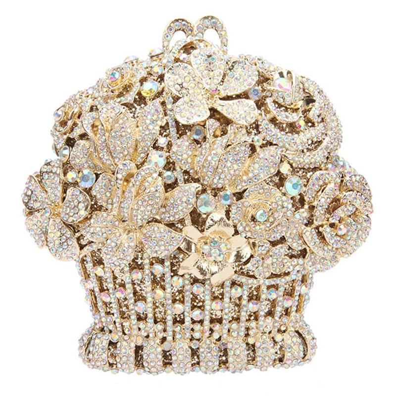 Luxo de Ouro Prata de Metal Bolsa de Embreagem de Cristal Mulheres de Diamante Festa à Noite Bolsas de Senhora Mini Multi Cor Ombro Bolsa – Oco Out