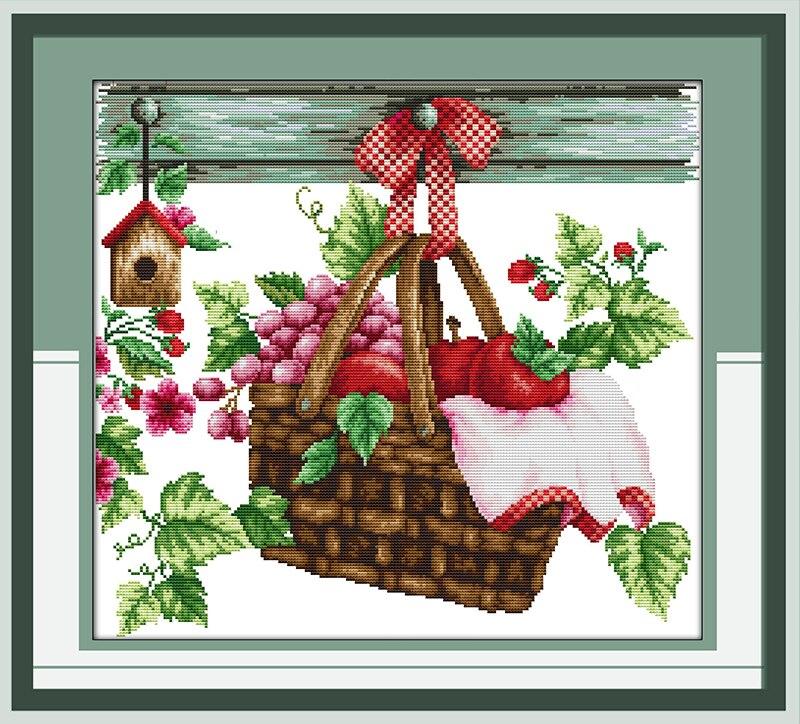 Kit de punto de cruz de lienzo con impresión de cesta de fruta caliente, pinturas decorativas hechas a mano para decoración del hogar, conjunto de punto DIY bordado